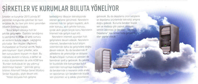 Şirketler ve kurumlar buluta yöneliyor