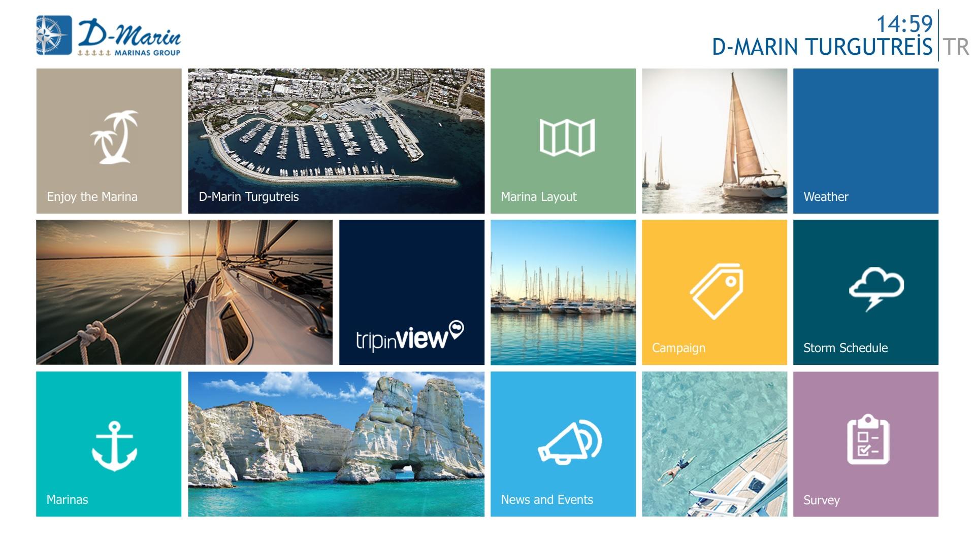 D-Marin, marinalarının kullanımını ve bilgilendirmesini Alternatif Medya'nın interaktif uygulaması  ile ekranlara sığdırdı.