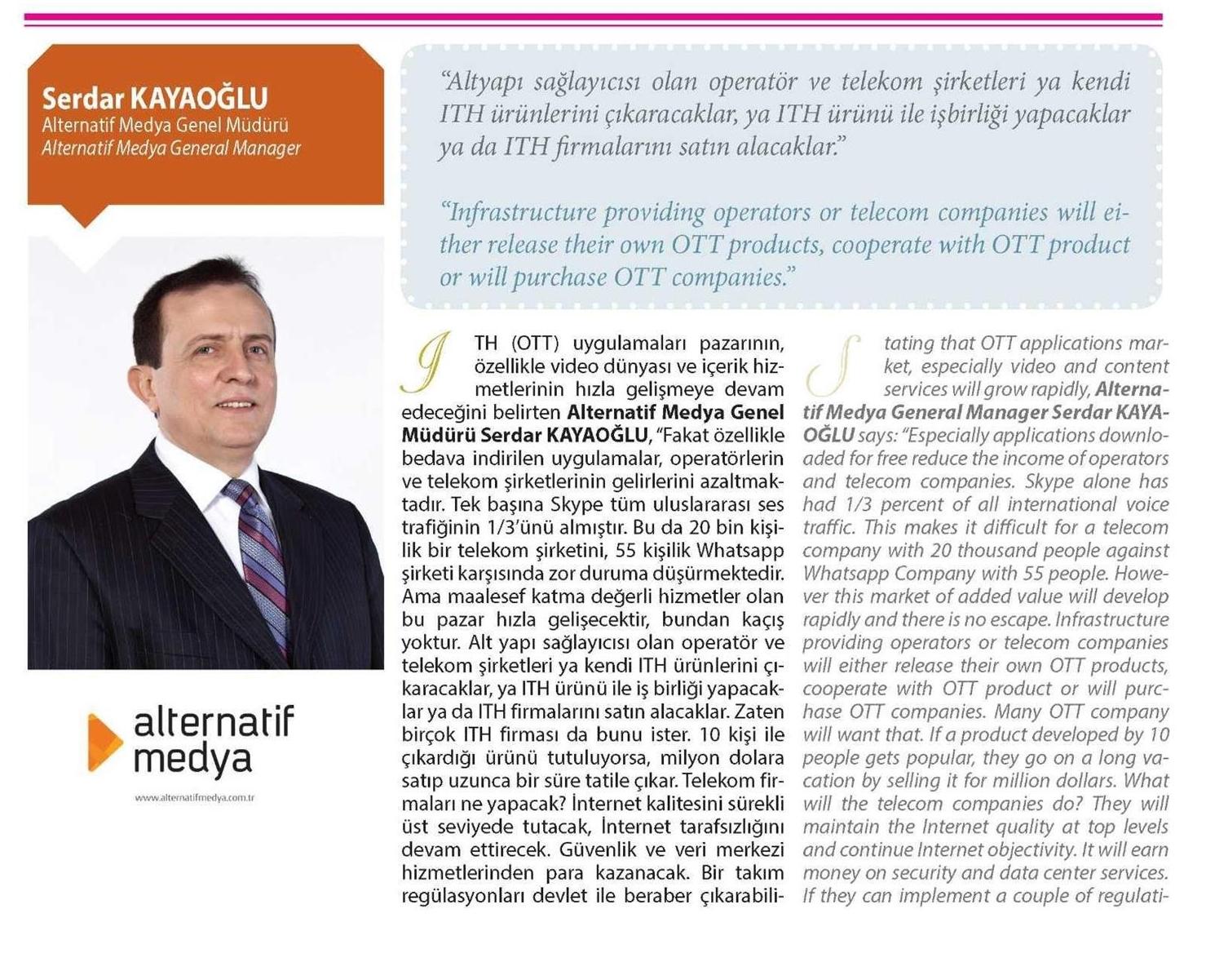 """ICT Media dergisinde bu ay """"İnternet Tabanlı Hizmetler ITH/OTT"""" işleniyor."""
